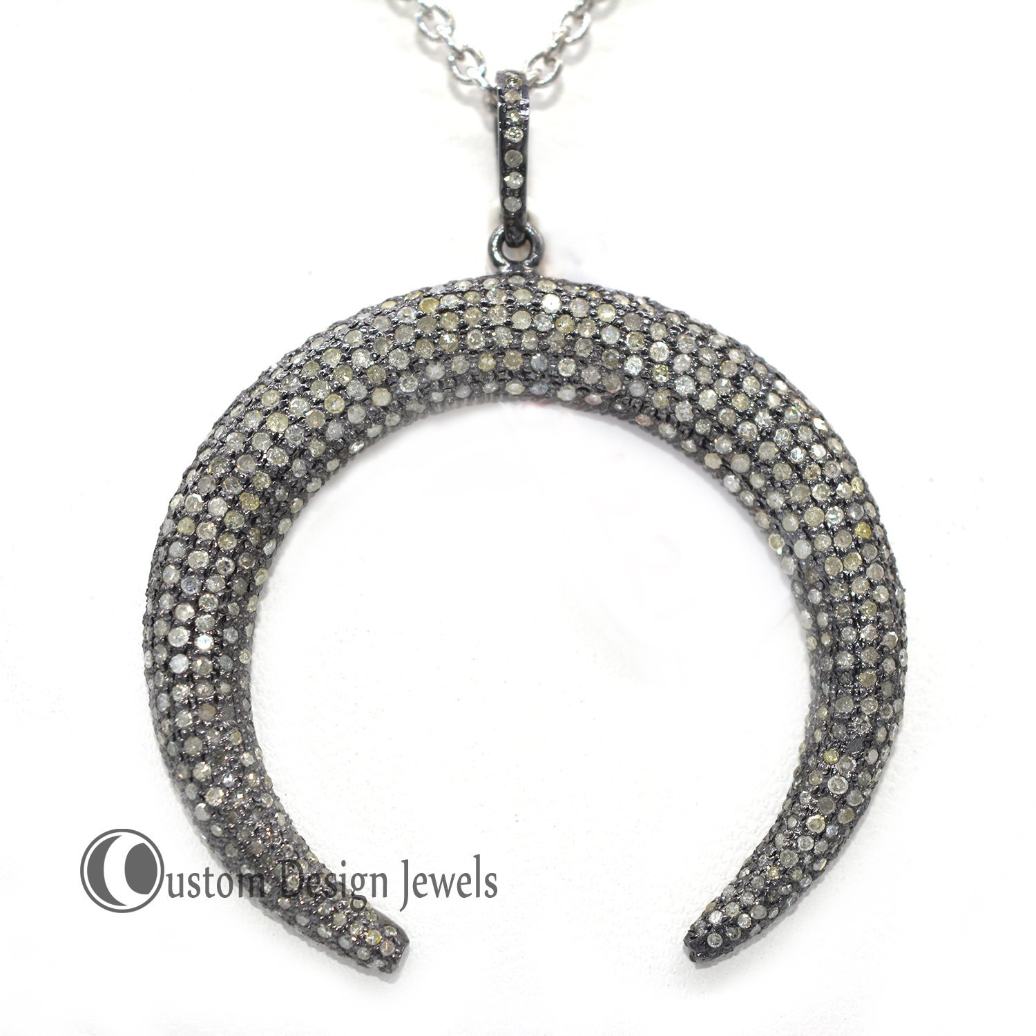 Pave diamond crescent Pendant Jewelry, Pave crescent Pendant, Diamond Jewelry, 92.5 Silver Jewelry For Women's