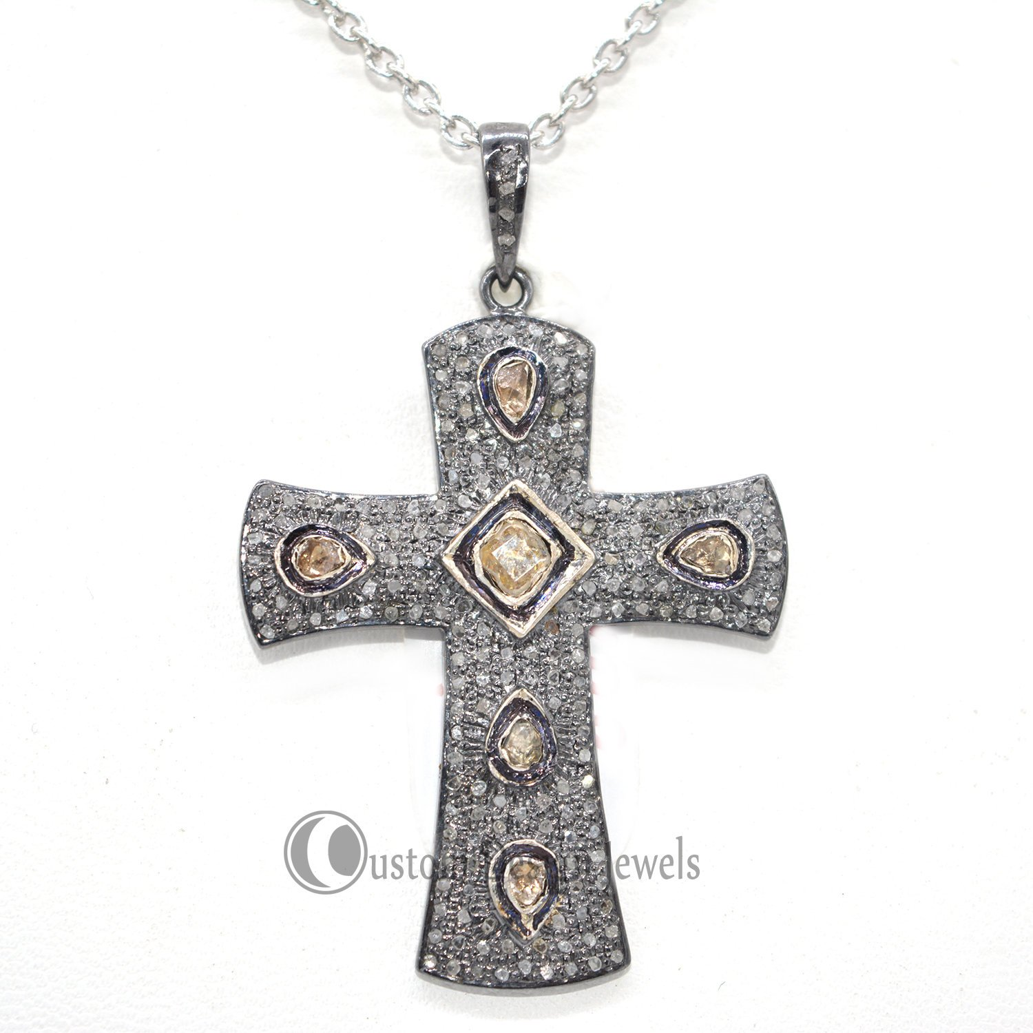 Rose Cut diamond Diamond Cross Pendant Jewelry, Pave Cross Pendant, Diamond Jewelry, 92.5 Silver Jewelry For Women's Gemstone pendant
