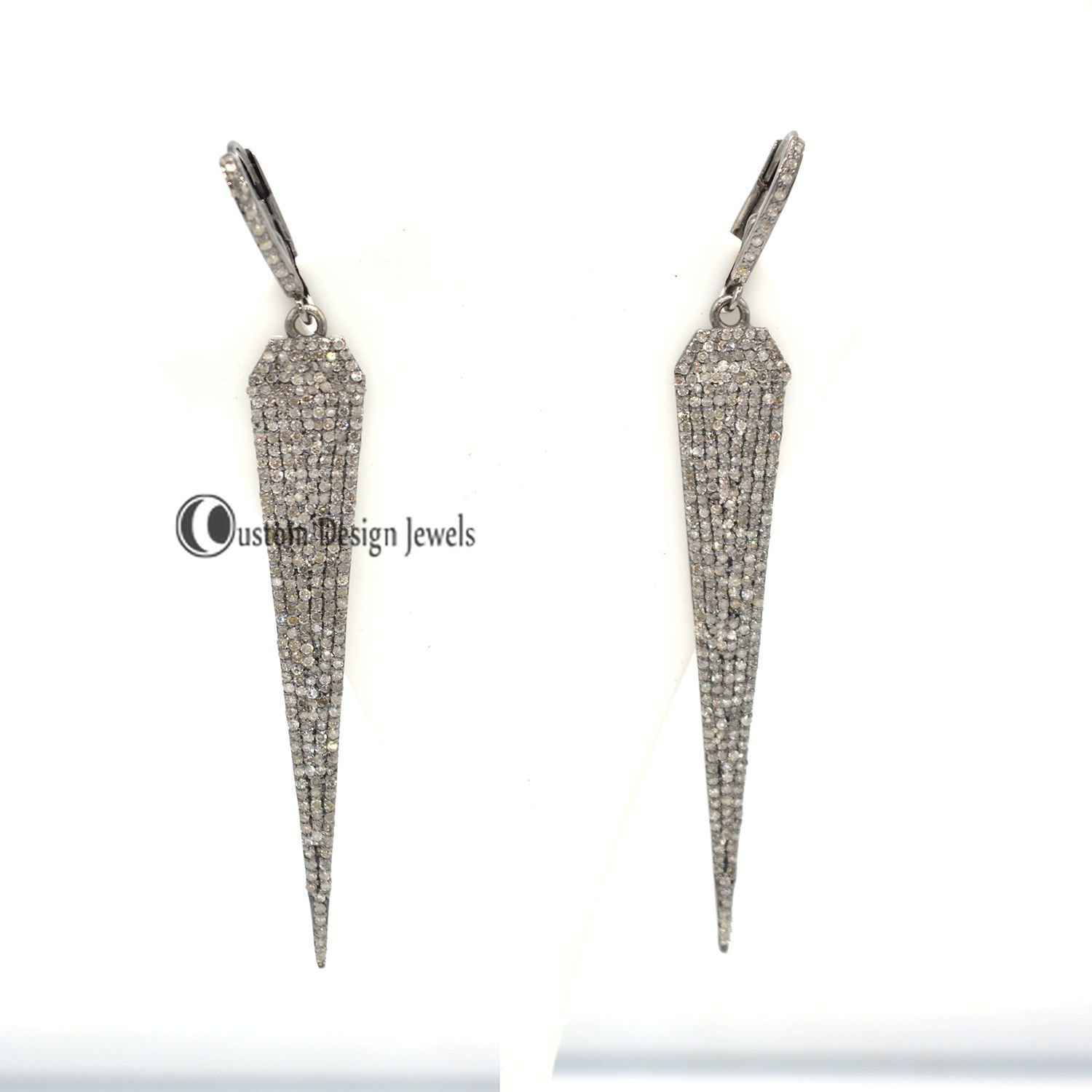 Pave Diamond Spike Earrings, Pave Diamond Earring, Designer pave diamond jewelry