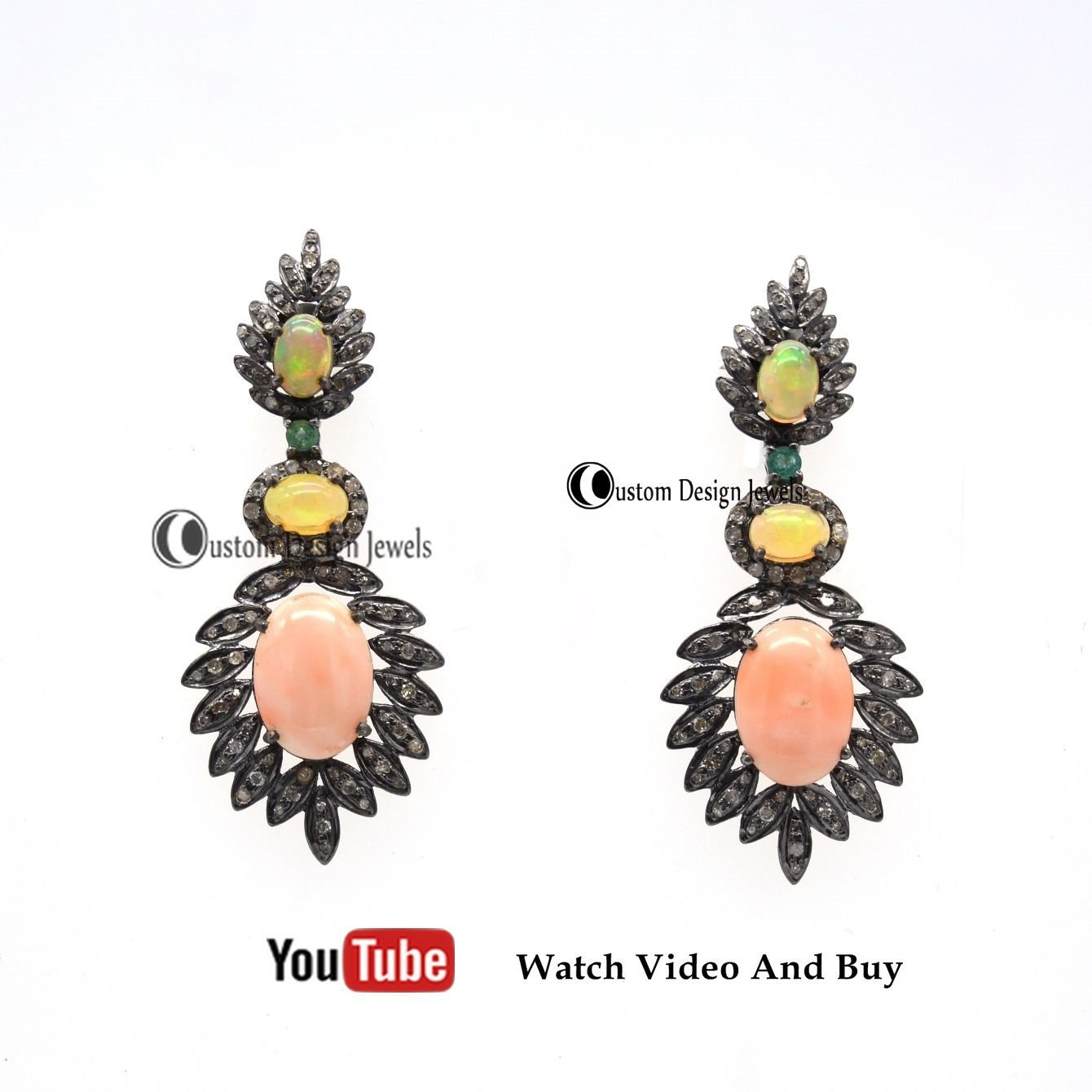 Designer Pave Diamond Earrings, Pave diamond and Opal earring, Christmas gift jewellery, watchandbuy