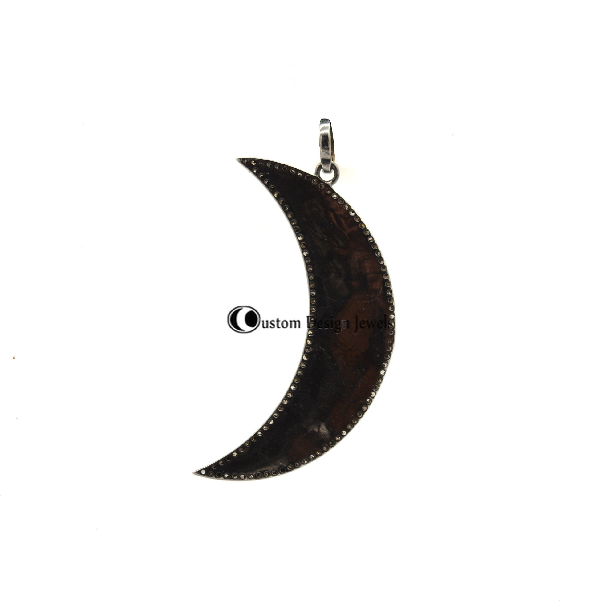 925 Crescent Moon Pave Diamond & Enamel White Pendant Custom Colour Request