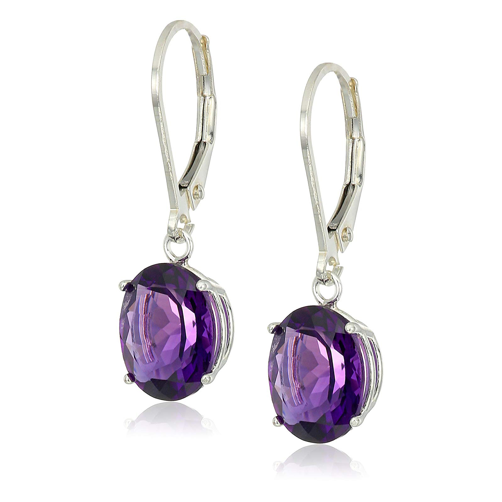 8x10mm Sterling Silver Oval Amethyst Genuine Gemstone Lever back Earrings