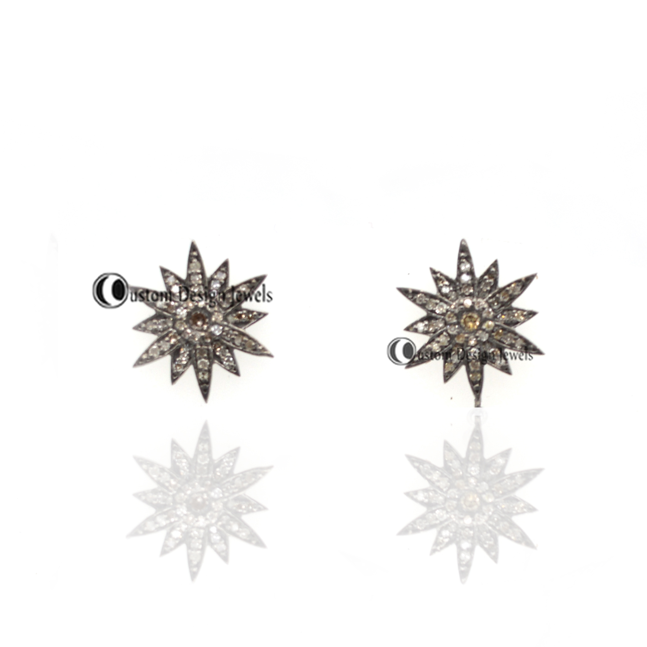 Pave Diamond Starburst Stud Earrings Handmade Studs Star Earring Jewelry
