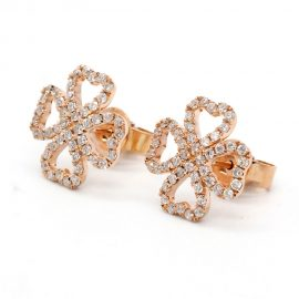 18K Solid Rose Gold Diamond heart stud Earrings Fine Jewelery Gifts For Women