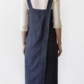 Women Japanese Style Cotton Loose Sleeveless Cross Back Solid Apron Dress