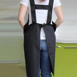 Women Japanese Style Kitchen Brief Pure Color Pockets Pinafore Aprons
