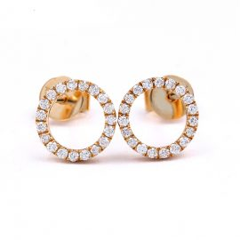 14K Rose Gold Pave Diamond Stud Earrings Anniversary Romantic Fashion Elegant Jewelery Earrings