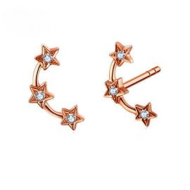 14k Rose Gold pavel Diamonds Stars Stud Earrings With Earrings Fashion Fine Jewelery