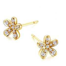 14k solid Gold pave Diamonds Stud Earrings Woman Engagement Wedding Anniversary Party Fine Jewelery Earrings Flower