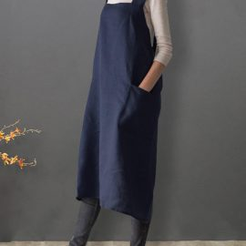 Women Japanese Style Sleeveless Cross Back Solid Cotton Apron