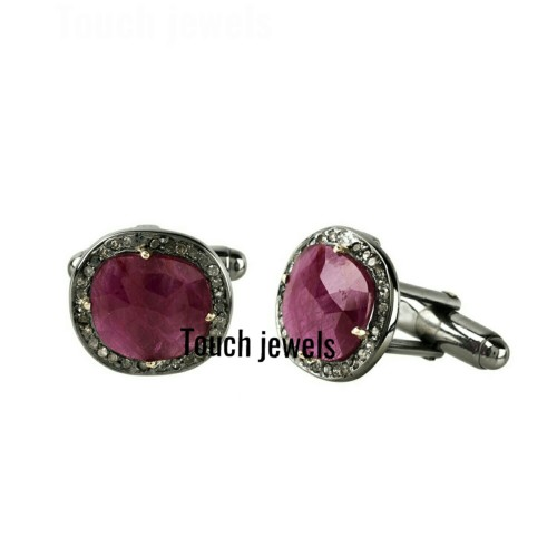 Ruby gemstone cufflinks