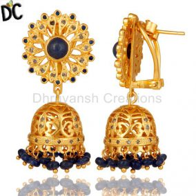 Blue Sapphire and Diamond Gold Plated 925 Silver Traditional Jhumka Earring