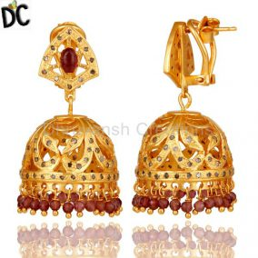 Pink Tourmaline and Diamond Gold Plated Sterling Silver Jhumki Earring