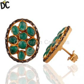 14K Gold Gp 3.770 Ct Emerald Diamond Pave 925 Sterling Silver Oval Stud Earrings