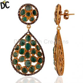 Handmade 18k Gold-Plated 925 Silver Pave Set Diamond Rough-Cut Emerald Earrings