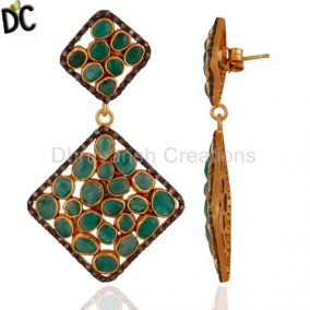 Sterling SIlver Emerald Gemstone Slice Pave Diamond Dangle Earrings 18K Gold GP