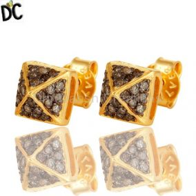 Pave Set Diamond Womens Stud Earrings Made In 18K Gold Over Sterling Silver