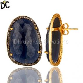 18K Yellow Gold Sterling Silver Blue Sapphire And Pave Set Diamond Stud Earrings