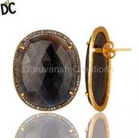 18K Yellow Gold Over Sterling Silver Blue Sapphire And Pave Diamond Stud Earring