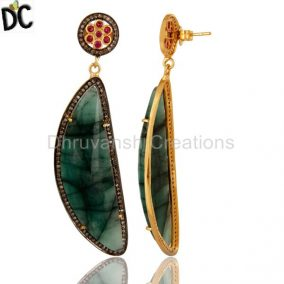 Natural Emerald Slice And Ruby Pave Diamond Sterling Silver Dangle Earrings
