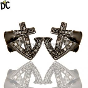 Diamond And Sterling Silver Black Oxidized Cross Style Stud Earring