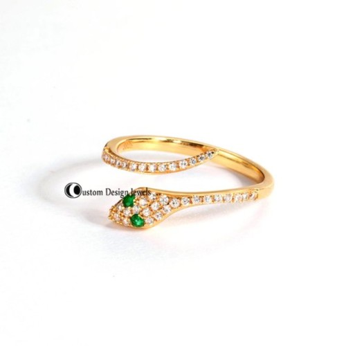 925 silver diamond ring, 14k gold diamond ring, snake diamond ring, 14k rose gold ring, 14k white gold snake ring