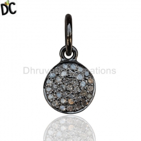 Natural Diamond Pave Disc Charm Pendant 925 Sterling Silver Fine Jewelry Manufacturers from India