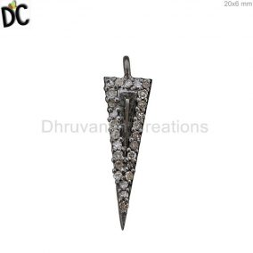 Pave Diamond Arrow Head 925 Silver Charm Pendant Pave Diamond Jewelry Suppliers from India