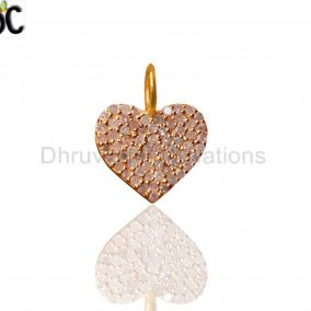 Pave Diamond Heart Charm Pendant 92.5 Sterling Silver 14K Gold Plated Jewelry Supplier from India