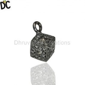 Pave Diamond Square Charm Pendant Handmade Sterling Silver Jewelry Manufacturer from India