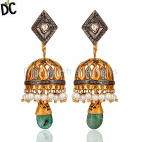 Antique Cut Diamond 925 Sterling Silver Emerald Bollywood Style Fashion Earrings