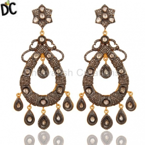 Designer Rose Cut Diamond Vintage Style Sterling Silver Chandelier Earrings