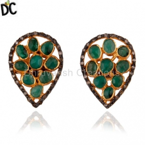 18K Gold Gp 925 Sterling Silver Emerald Pave Setting Diamond Stud Earring Jewelr