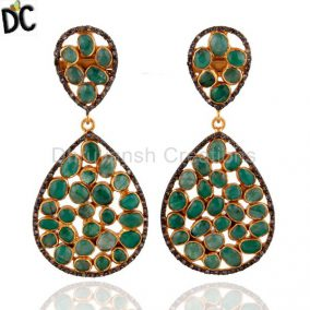Emerald Pave Diamond Gold Vermeil 925 Sterling Silver Designer Dangle Earrings