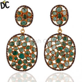 Pave Diamond Emerald Dangle Earrings Jewelry 18k Gold GP 925 Sterling Silver