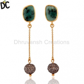 Pave Diamond Emerald Gemstone 925 Sterling Silver Fashion Earrings