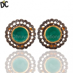 .925 Sterling Silver Pave Diamond Green Onyx Gemstone Designer Stud Earrings