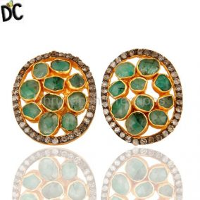 Natural Emerald And Pave Diamond Sterling Silver Halo Stud Earrings – Gold Plate