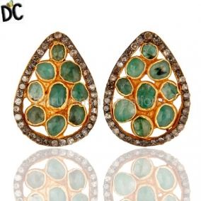Natural Emerald Pave Diamond Stud Earrings In 18K Gold Over Sterling Silver