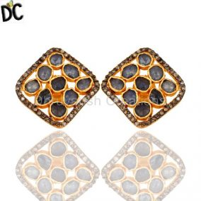 Blue Sapphire Rough Pave Diamond Sterling Silver Studs Earrings – Gold Plated