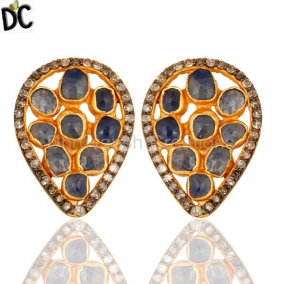 Handmade Pave Diamond Natural Blue Sapphire Sterling Silver Stud Earrings