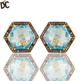 Blue Topaz And Pave Set Diamond Hexagon Stud Earrings Made In 18K Gold On Silver