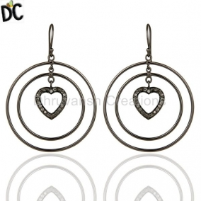 Oxidized Sterling Silver Pave Set Diamond Heart Design Circle Dangle Earrings
