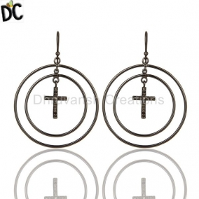 Oxidized Sterling Silver Pave Setting Diamond Cross Circle Dangle Earrings