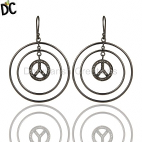Oxidized Sterling Silver Pave Setting Diamond Peace Sign Circle Dangle Earrings