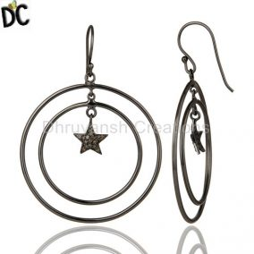 Oxidized Sterling Silver Pave Set Diamond Star Design Circle Dangle Earrings
