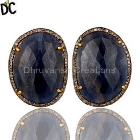 18K Yellow Gold Sterling Silver Blue Sapphire And Pave Diamond Stud Earrings