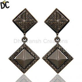 Oxidized Sterling Silver Pave Setting Diamond  Pyramid Dangle Earring