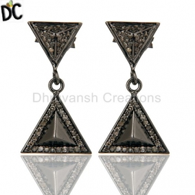 Pave Setting Diamond Oxidized Sterling Silver Pyramid Dangle Drop Earring