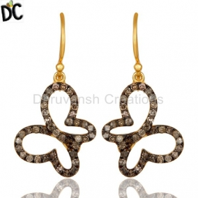 Pave Diamond 18K Gold Plated Sterling Silver Butterfly Earring